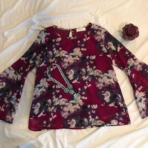 Tops - Purple Bell Sleeved Top- Size Small